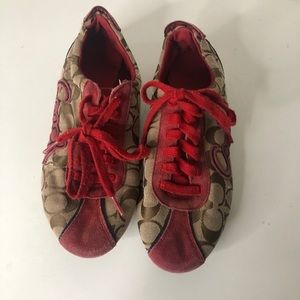 Coach Devin Red Brown Lace Up Signature Sneakers